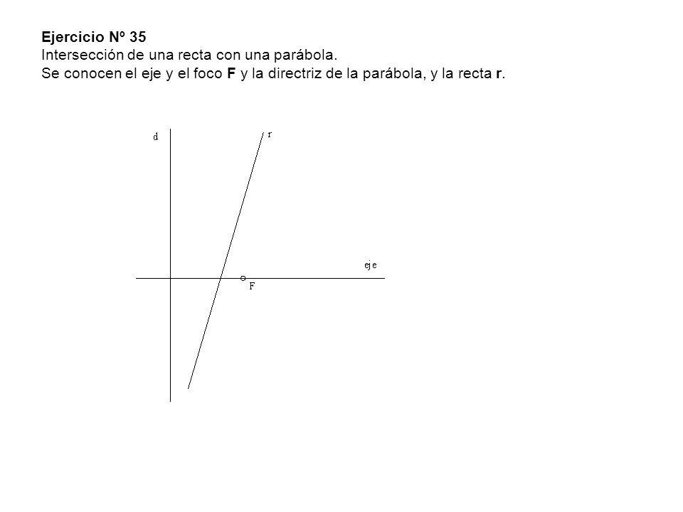Ejercicio Nº 35 Intersección de una recta con una parábola