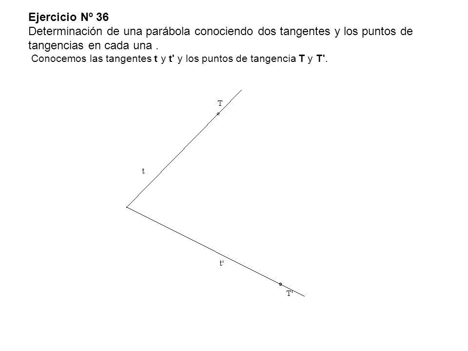 Ejercicio Nº 36 Determinación de una parábola conociendo dos tangentes y los puntos de tangencias en cada una .