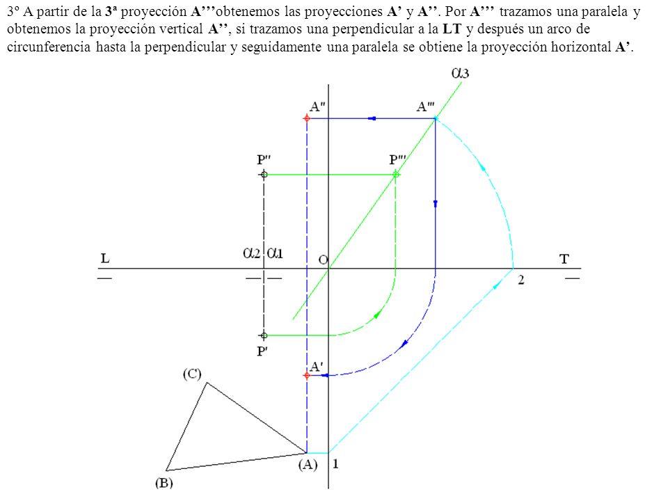 3º A partir de la 3ª proyección A'''obtenemos las proyecciones A' y A''.