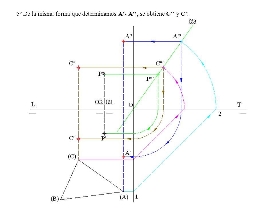 5º De la misma forma que determinamos A'- A'', se obtiene C'' y C'.