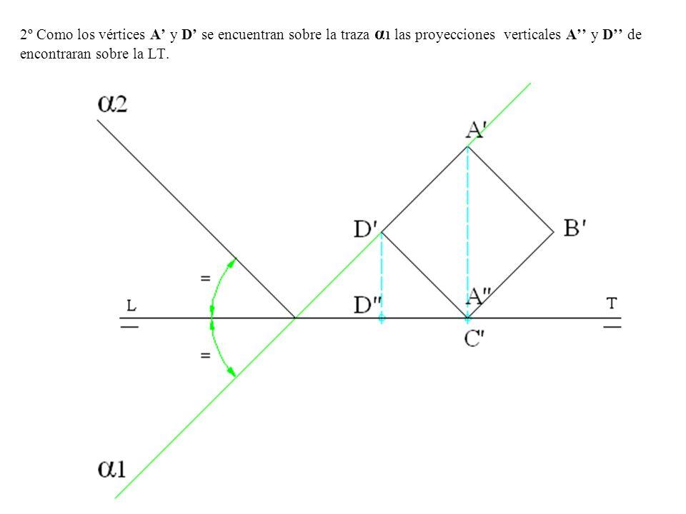 2º Como los vértices A' y D' se encuentran sobre la traza α1 las proyecciones verticales A'' y D'' de encontraran sobre la LT.