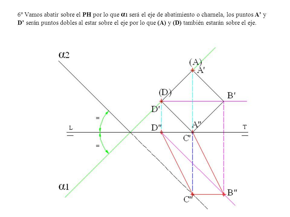 6º Vamos abatir sobre el PH por lo que α1 será el eje de abatimiento o charnela, los puntos A' y D' serán puntos dobles al estar sobre el eje por lo que (A) y (D) también estarán sobre el eje.