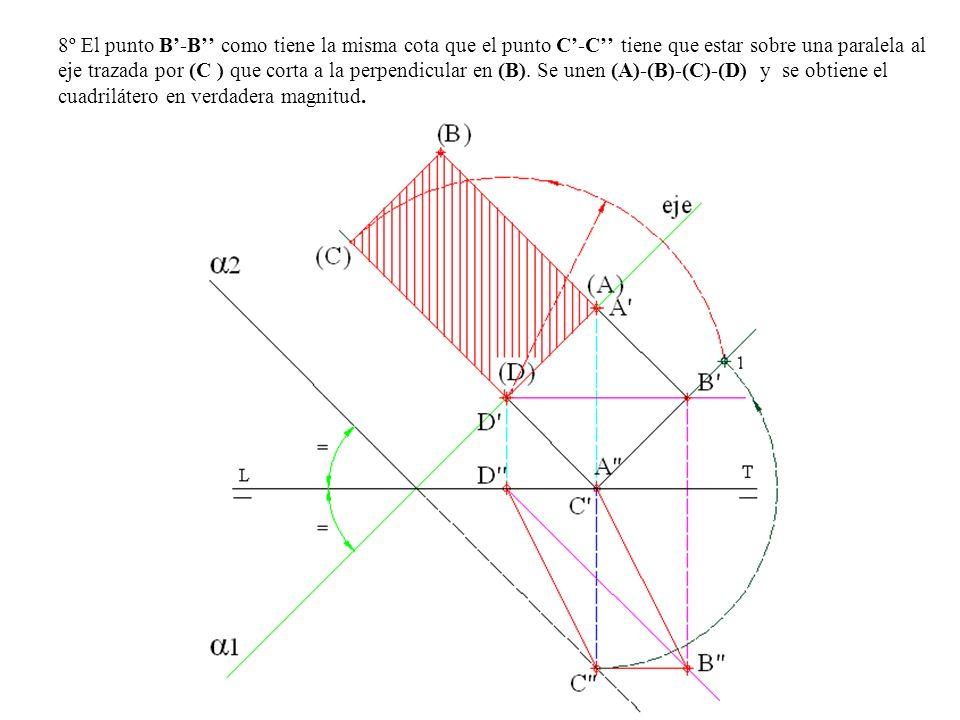 8º El punto B'-B'' como tiene la misma cota que el punto C'-C'' tiene que estar sobre una paralela al eje trazada por (C ) que corta a la perpendicular en (B).