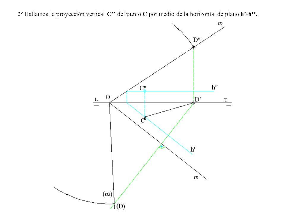 2º Hallamos la proyección vertical C'' del punto C por medio de la horizontal de plano h'-h''.