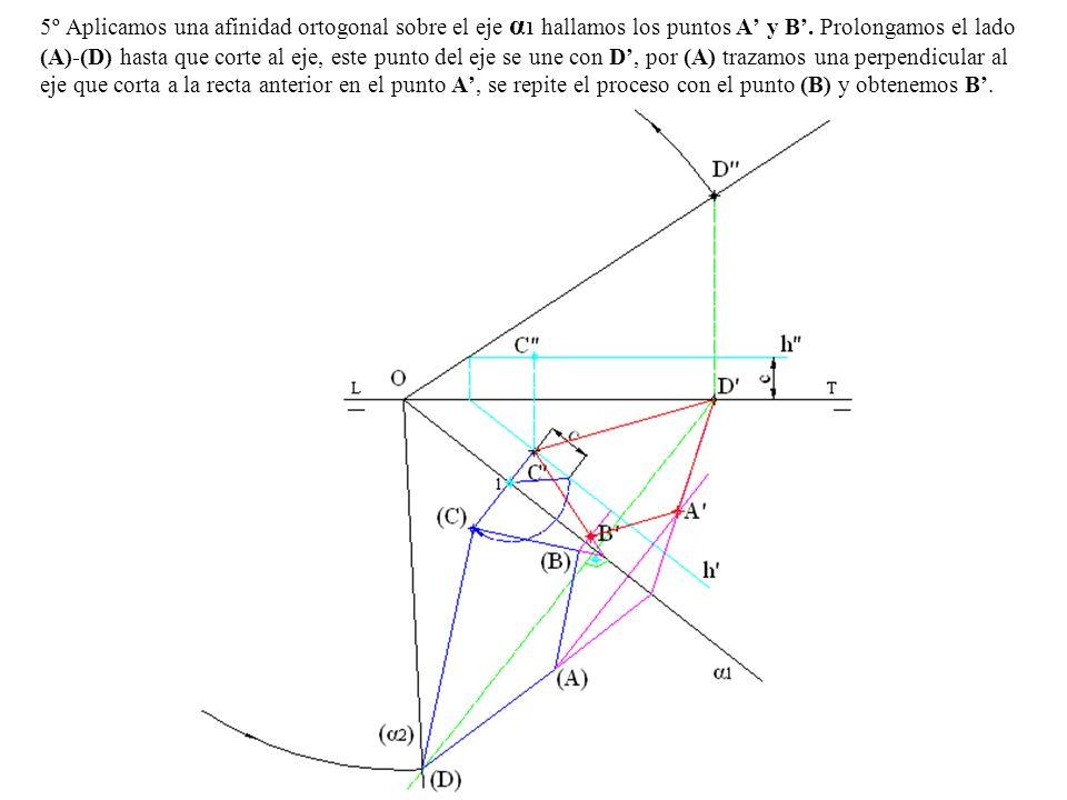 5º Aplicamos una afinidad ortogonal sobre el eje α1 hallamos los puntos A' y B'.