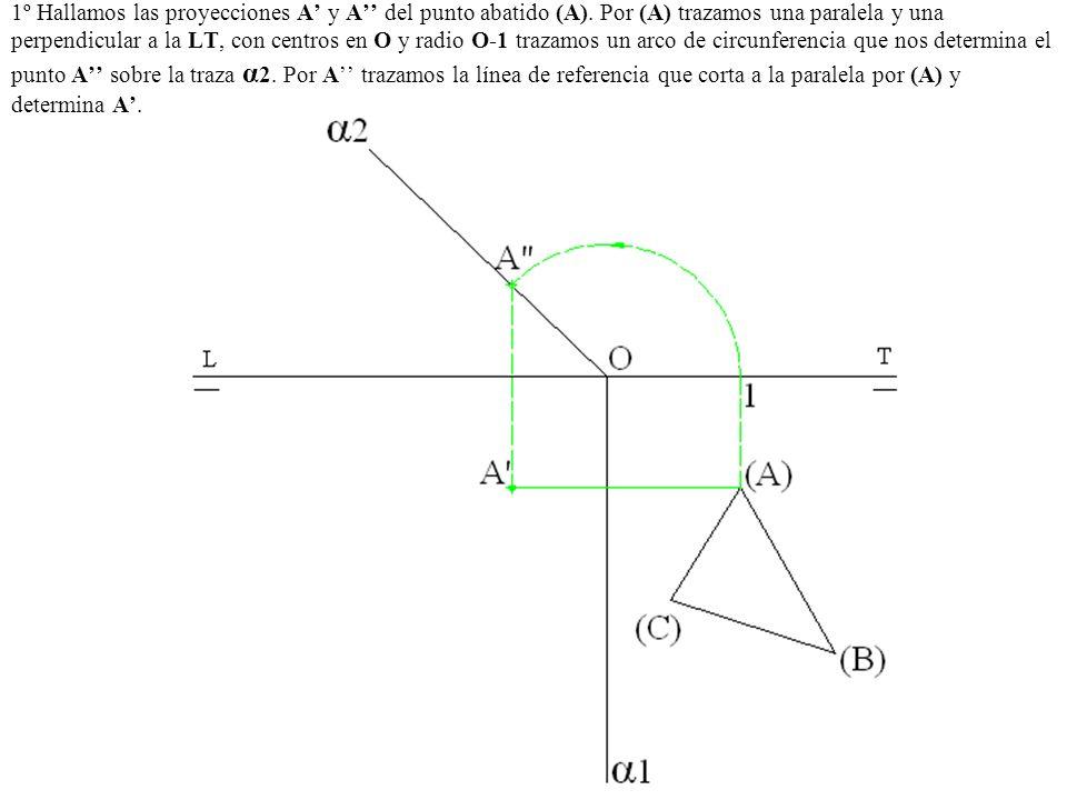 1º Hallamos las proyecciones A' y A'' del punto abatido (A)