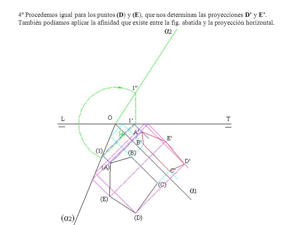 4º Procedemos igual para los puntos (D) y (E), que nos determinan las proyecciones D' y E'.