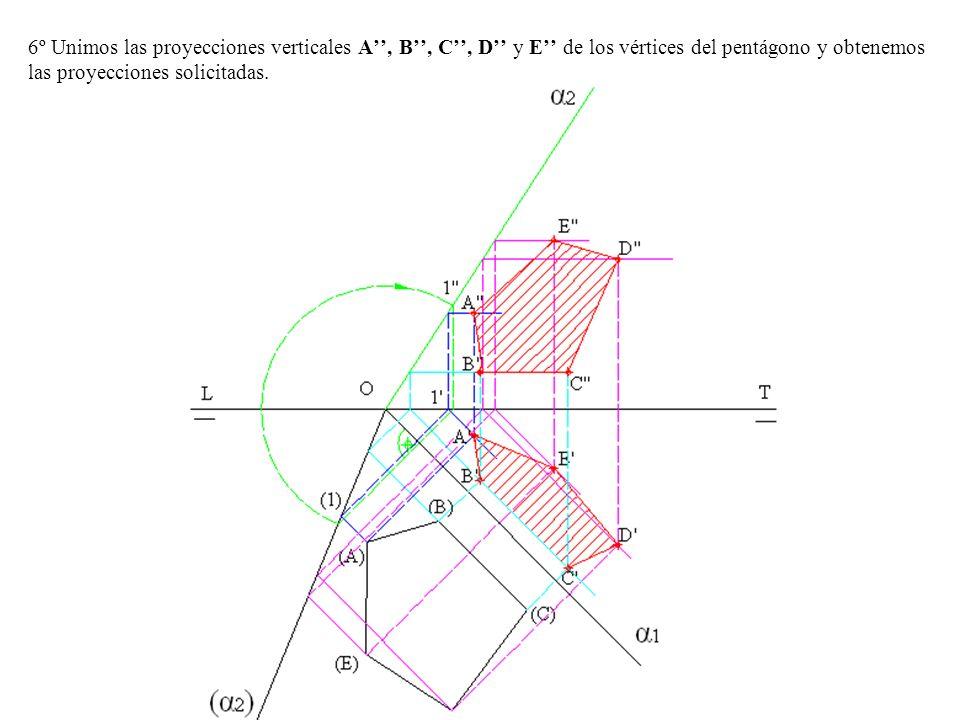 6º Unimos las proyecciones verticales A'', B'', C'', D'' y E'' de los vértices del pentágono y obtenemos las proyecciones solicitadas.