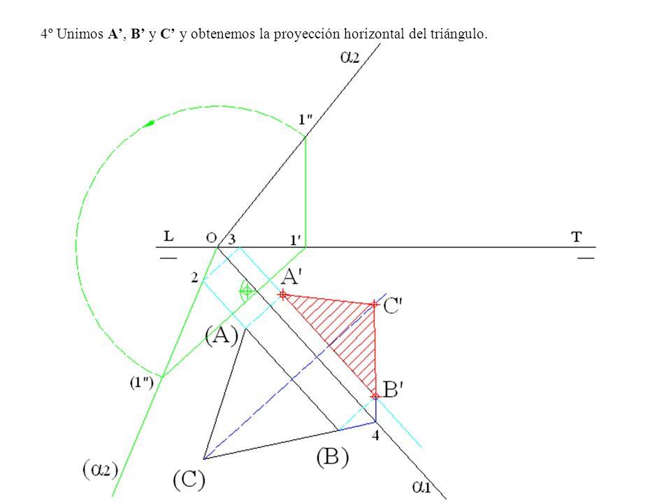 4º Unimos A', B' y C' y obtenemos la proyección horizontal del triángulo.