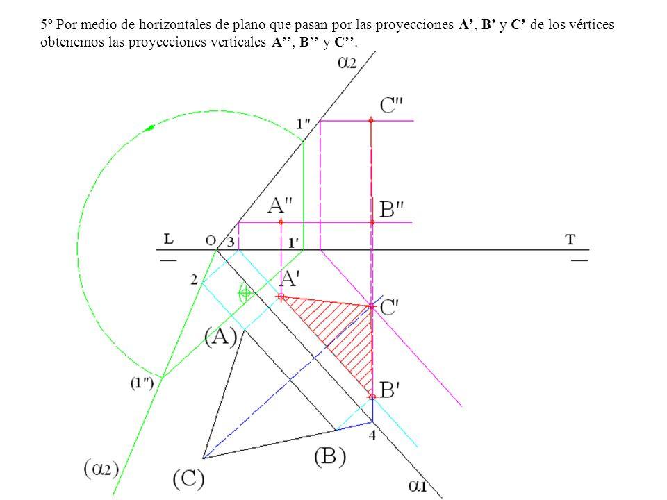 5º Por medio de horizontales de plano que pasan por las proyecciones A', B' y C' de los vértices obtenemos las proyecciones verticales A'', B'' y C''.