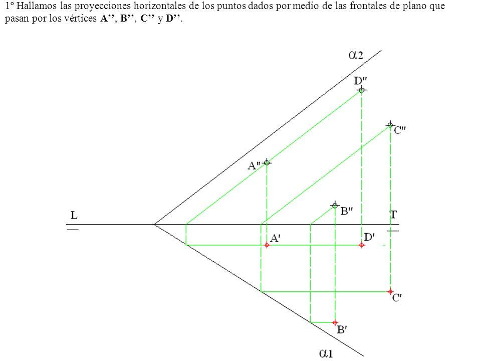1º Hallamos las proyecciones horizontales de los puntos dados por medio de las frontales de plano que pasan por los vértices A'', B'', C'' y D''.