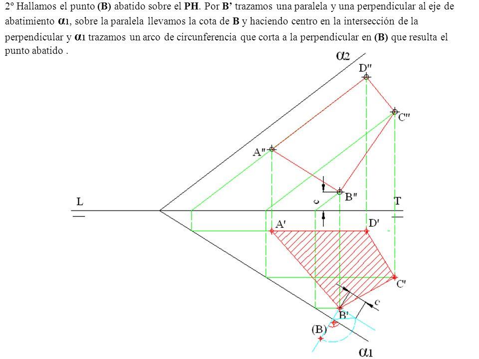 2º Hallamos el punto (B) abatido sobre el PH