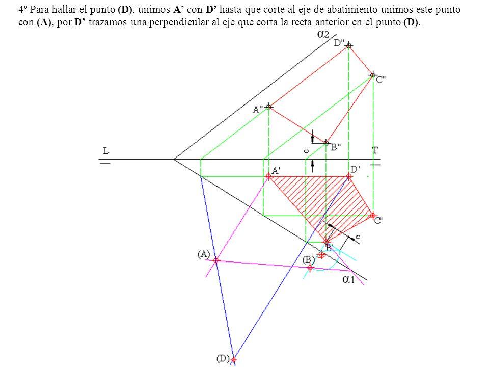 4º Para hallar el punto (D), unimos A' con D' hasta que corte al eje de abatimiento unimos este punto con (A), por D' trazamos una perpendicular al eje que corta la recta anterior en el punto (D).