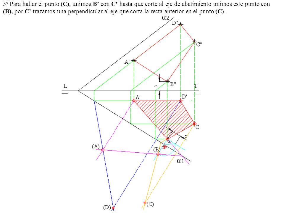 5º Para hallar el punto (C), unimos B' con C' hasta que corte al eje de abatimiento unimos este punto con (B), por C' trazamos una perpendicular al eje que corta la recta anterior en el punto (C).