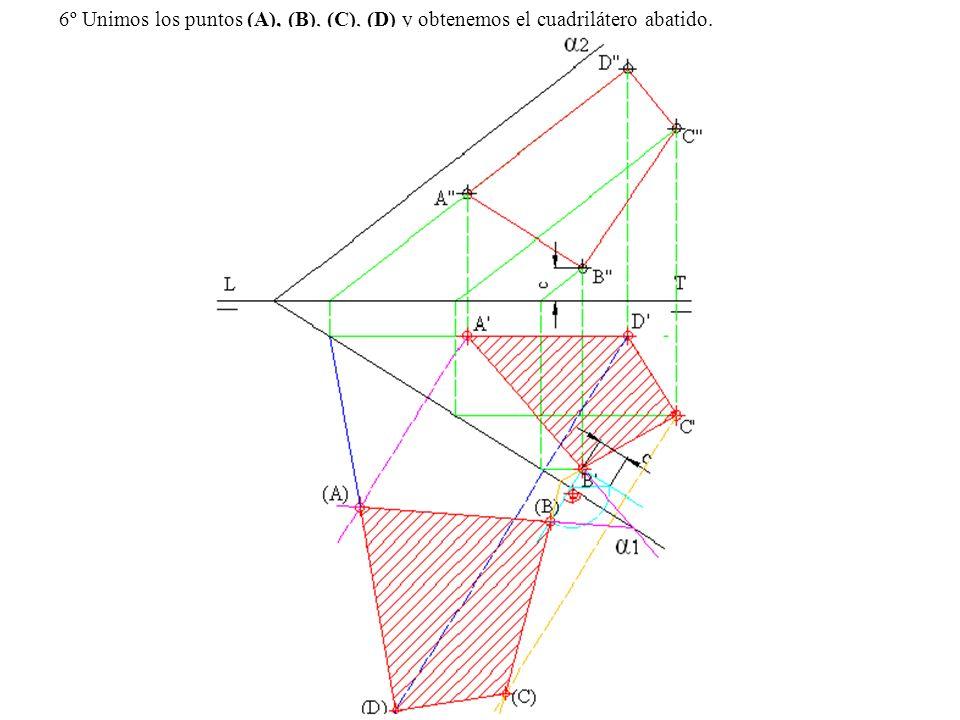 6º Unimos los puntos (A), (B), (C), (D) y obtenemos el cuadrilátero abatido.