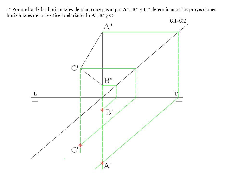 1º Por medio de las horizontales de plano que pasan por A'', B'' y C'' determinamos las proyecciones horizontales de los vértices del triángulo A', B' y C'.