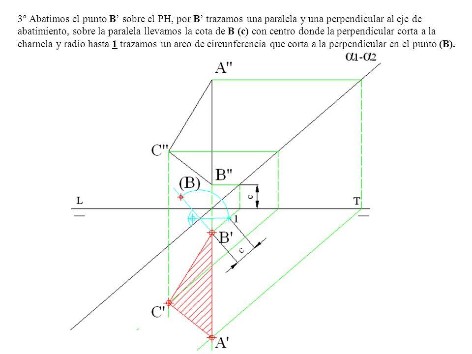 3º Abatimos el punto B' sobre el PH, por B' trazamos una paralela y una perpendicular al eje de abatimiento, sobre la paralela llevamos la cota de B (c) con centro donde la perpendicular corta a la charnela y radio hasta 1 trazamos un arco de circunferencia que corta a la perpendicular en el punto (B).