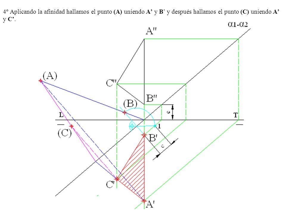 4º Aplicando la afinidad hallamos el punto (A) uniendo A' y B' y después hallamos el punto (C) uniendo A' y C'.