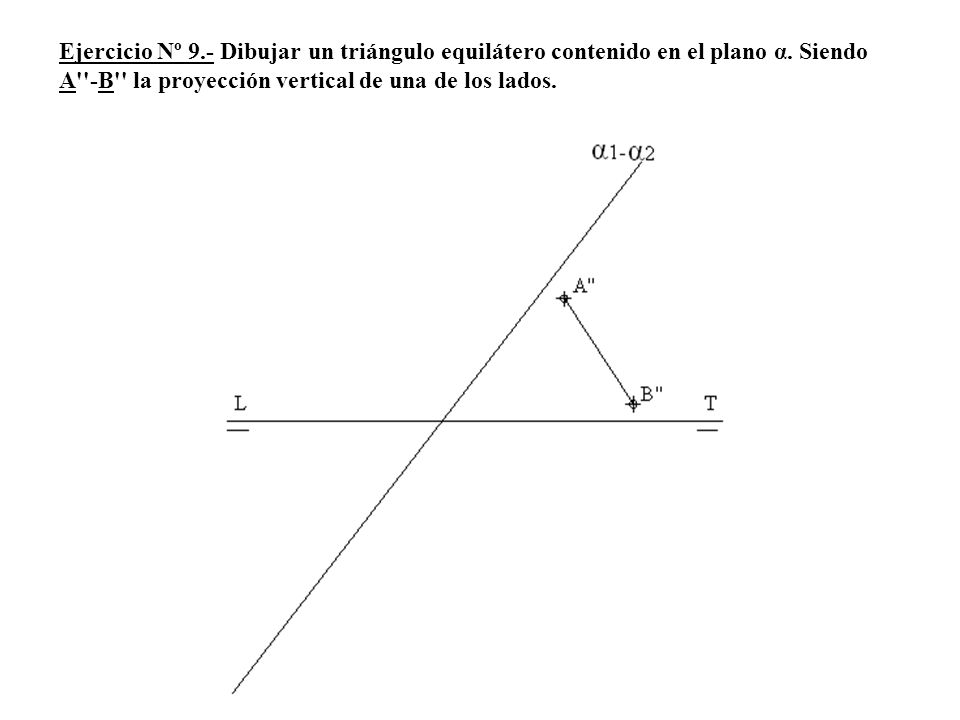 Ejercicio Nº 9.- Dibujar un triángulo equilátero contenido en el plano α.