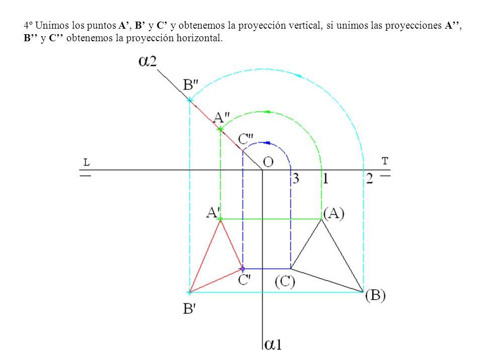 4º Unimos los puntos A', B' y C' y obtenemos la proyección vertical, si unimos las proyecciones A'', B'' y C'' obtenemos la proyección horizontal.