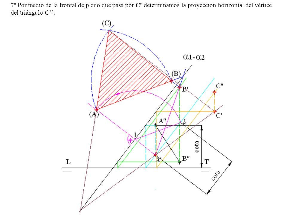 7º Por medio de la frontal de plano que pasa por C' determinamos la proyección horizontal del vértice del triángulo C''.
