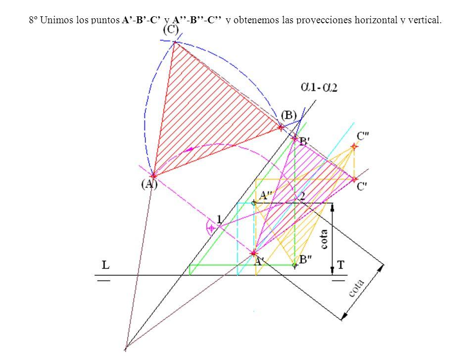 8º Unimos los puntos A'-B'-C' y A''-B''-C'' y obtenemos las proyecciones horizontal y vertical.