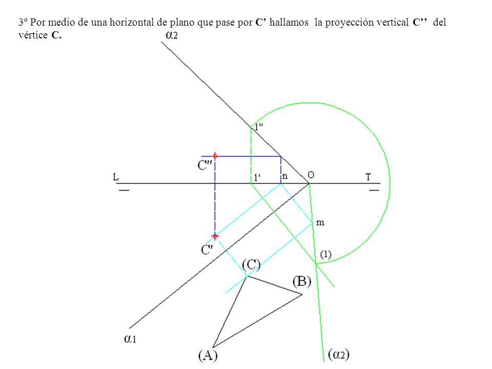 3º Por medio de una horizontal de plano que pase por C' hallamos la proyección vertical C'' del vértice C.