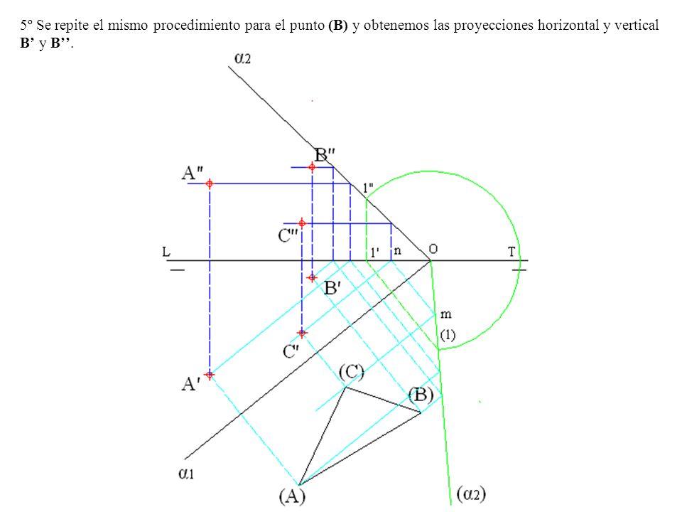 5º Se repite el mismo procedimiento para el punto (B) y obtenemos las proyecciones horizontal y vertical B' y B''.