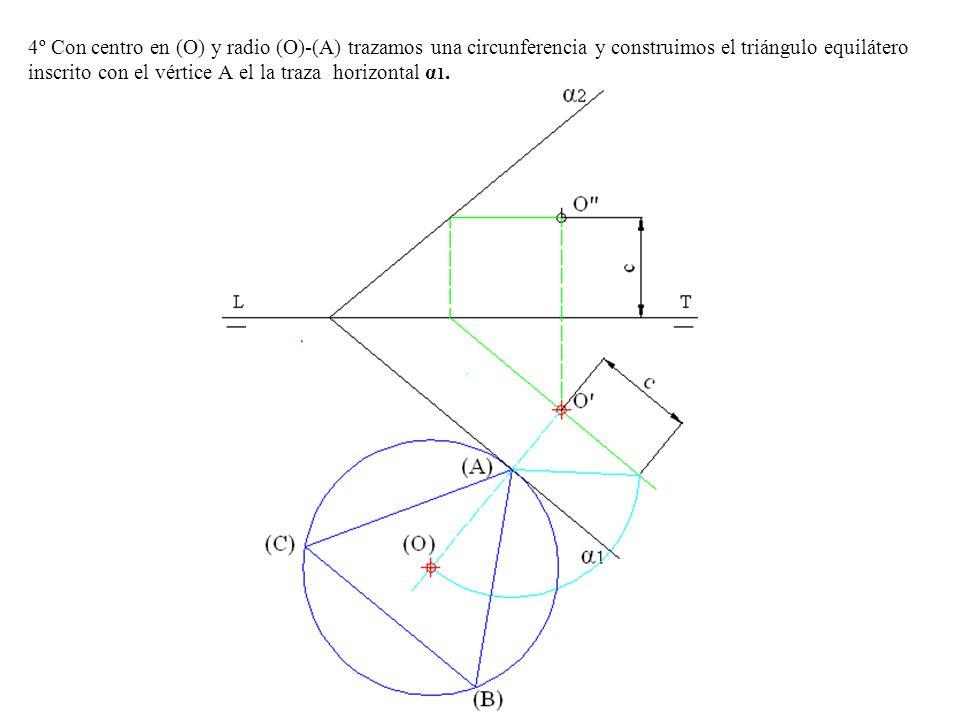 4º Con centro en (O) y radio (O)-(A) trazamos una circunferencia y construimos el triángulo equilátero inscrito con el vértice A el la traza horizontal α1.