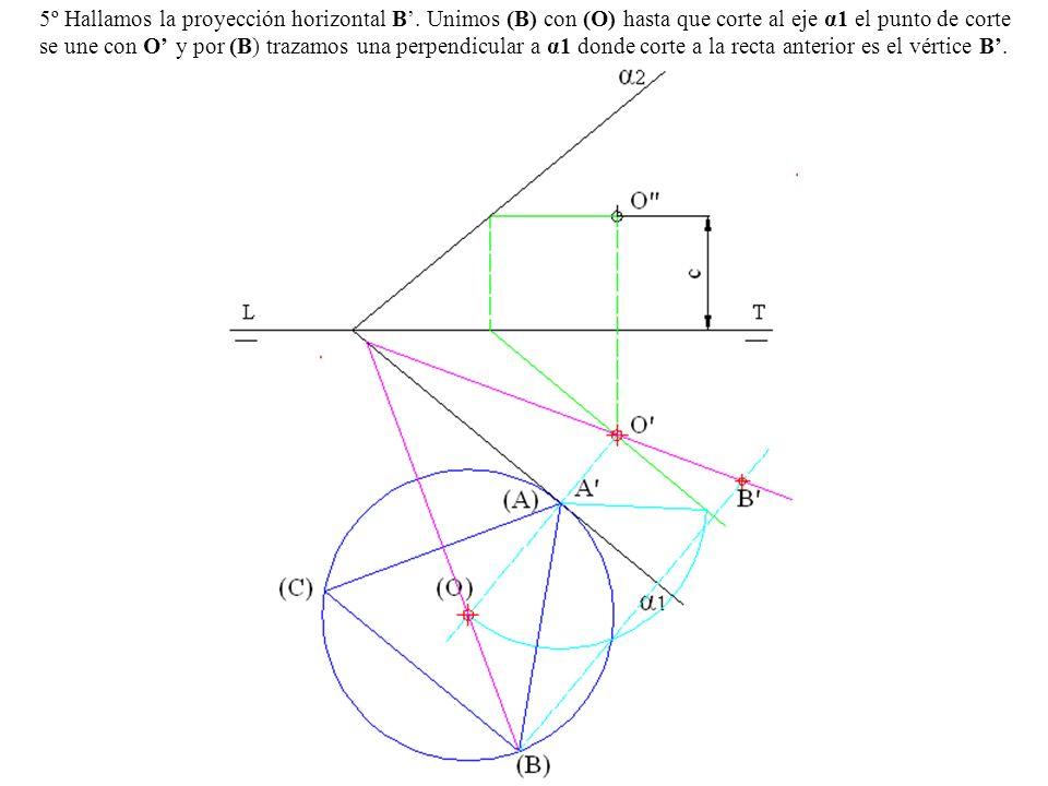 5º Hallamos la proyección horizontal B'