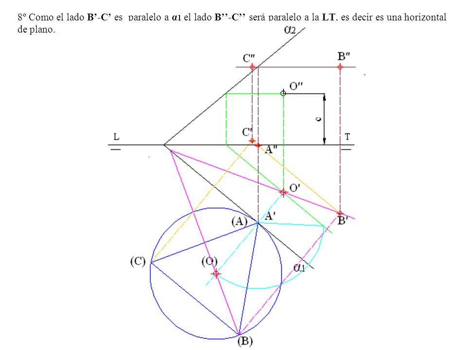 8º Como el lado B'-C' es paralelo a α1 el lado B''-C'' será paralelo a la LT, es decir es una horizontal de plano.