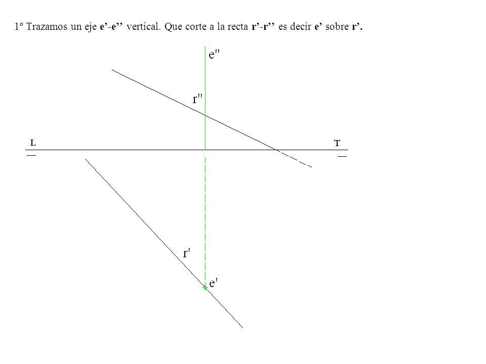 1º Trazamos un eje e'-e'' vertical