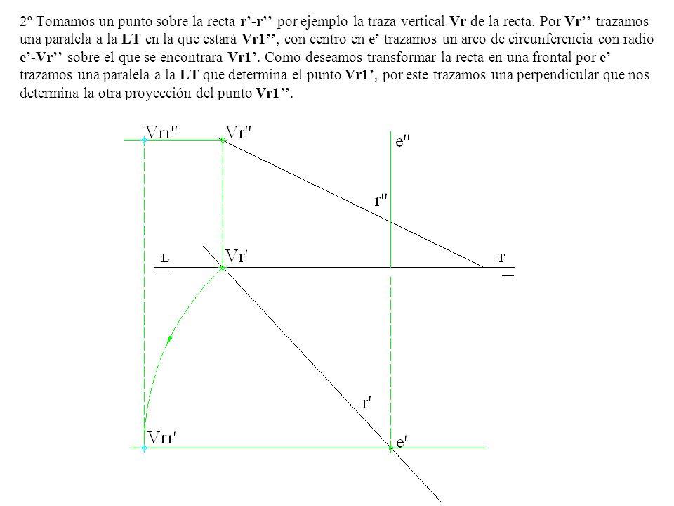2º Tomamos un punto sobre la recta r'-r'' por ejemplo la traza vertical Vr de la recta.