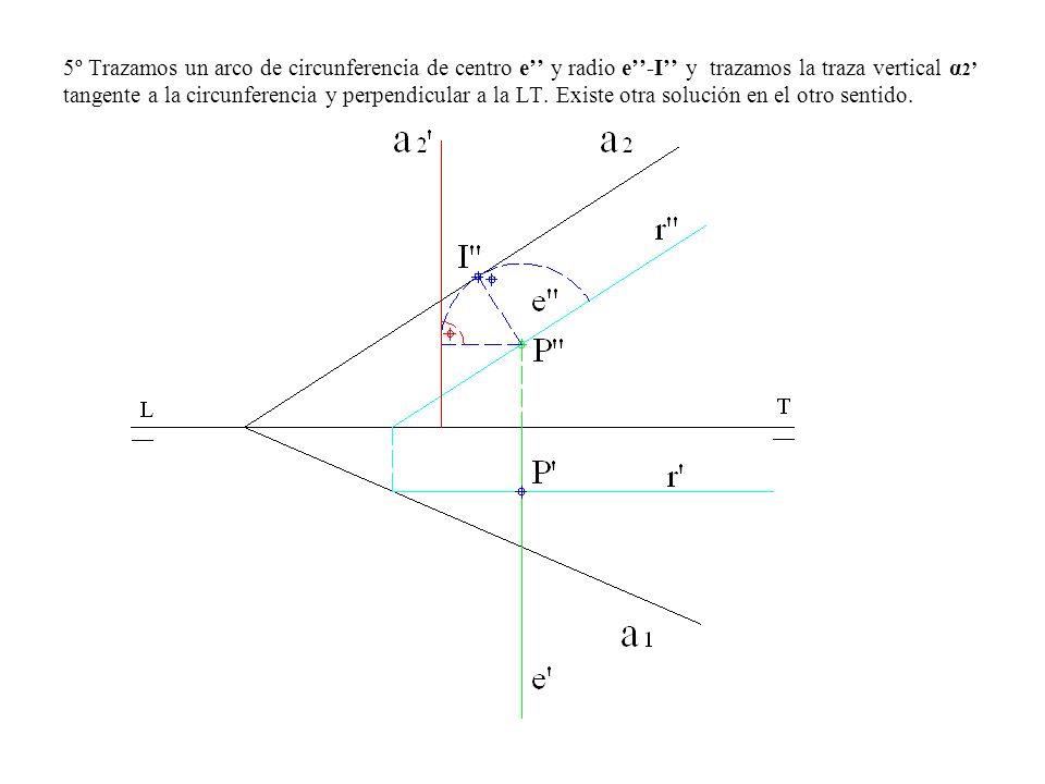 5º Trazamos un arco de circunferencia de centro e'' y radio e''-I'' y trazamos la traza vertical α2' tangente a la circunferencia y perpendicular a la LT.
