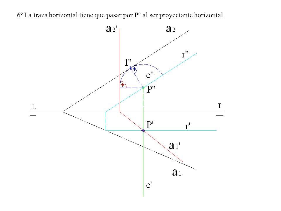 6º La traza horizontal tiene que pasar por P' al ser proyectante horizontal.