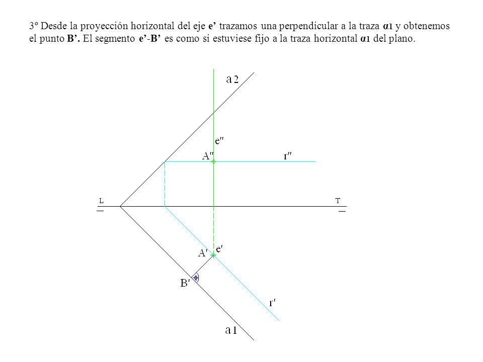 3º Desde la proyección horizontal del eje e' trazamos una perpendicular a la traza α1 y obtenemos el punto B'.