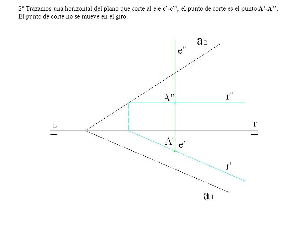 2º Trazamos una horizontal del plano que corte al eje e'-e'', el punto de corte es el punto A'-A''.