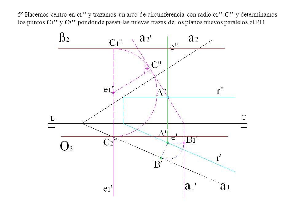 5º Hacemos centro en e1'' y trazamos un arco de circunferencia con radio e1''-C'' y determinamos los puntos C1'' y C2'' por donde pasan las nuevas trazas de los planos nuevos paralelos al PH.