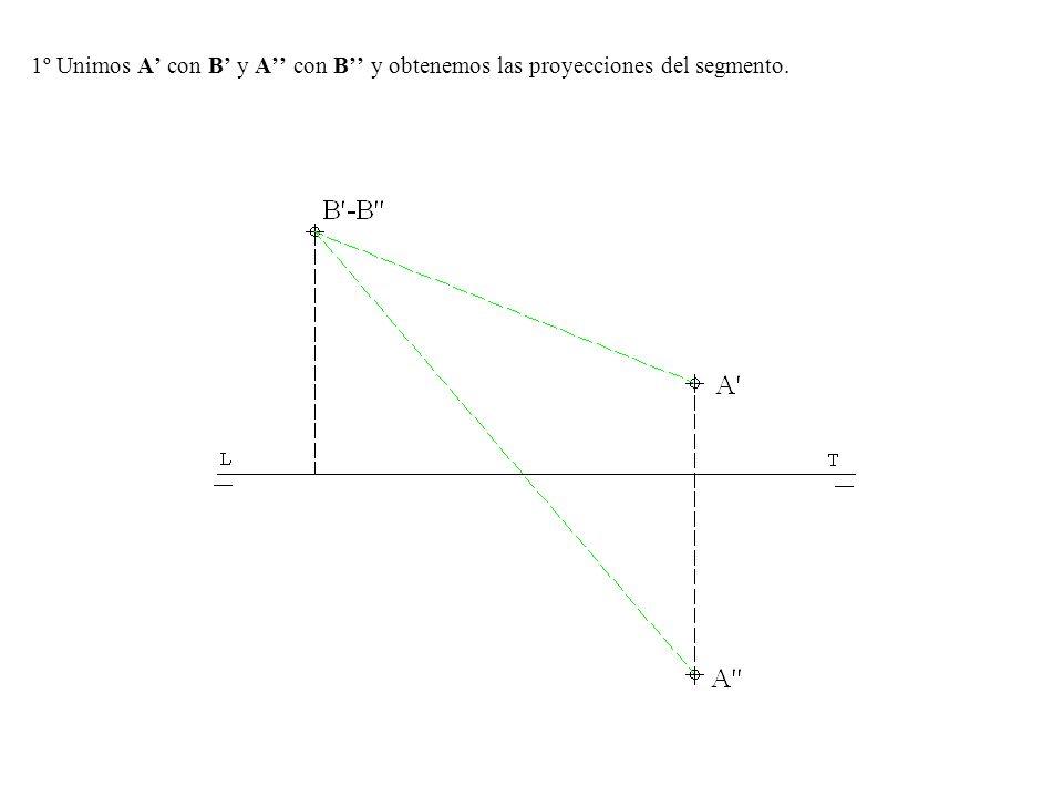 1º Unimos A' con B' y A'' con B'' y obtenemos las proyecciones del segmento.