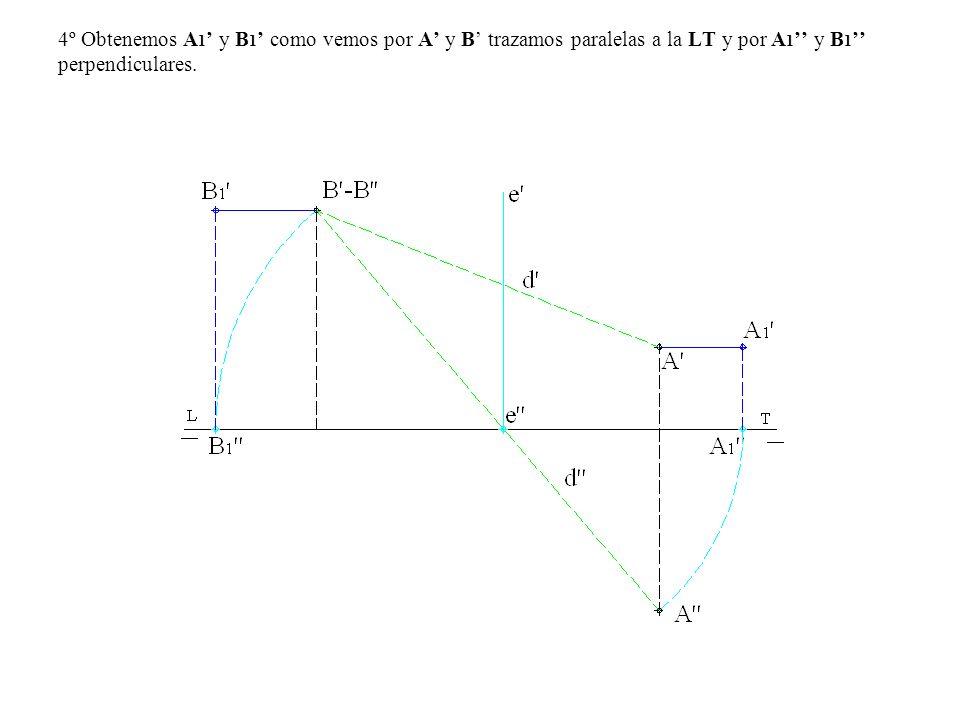 4º Obtenemos A1' y B1' como vemos por A' y B' trazamos paralelas a la LT y por A1'' y B1'' perpendiculares.
