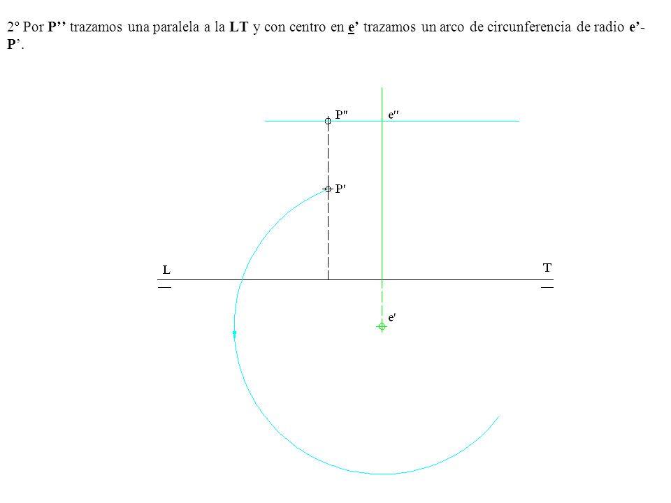 2º Por P'' trazamos una paralela a la LT y con centro en e' trazamos un arco de circunferencia de radio e'- P'.