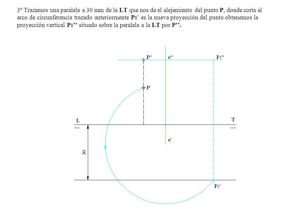 3º Trazamos una paralela a 30 mm de la LT que nos da el alejamiento del punto P, donde corta al arco de circunferencia trazado anteriormente P1' es la nueva proyección del punto obtenemos la proyección vertical P1'' situado sobre la paralela a la LT por P''.