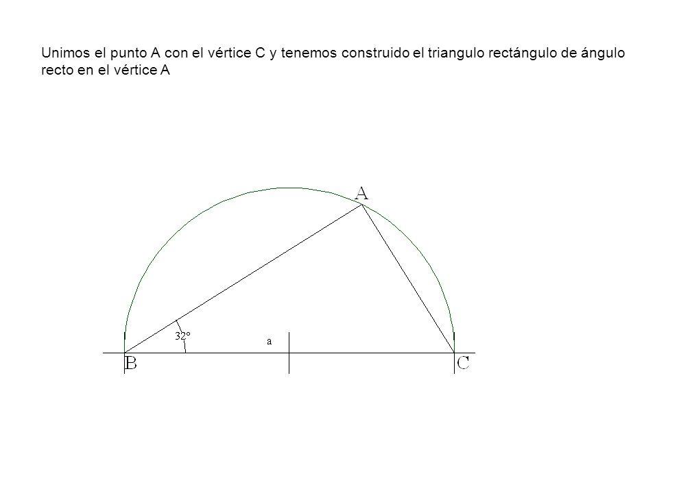 Unimos el punto A con el vértice C y tenemos construido el triangulo rectángulo de ángulo recto en el vértice A