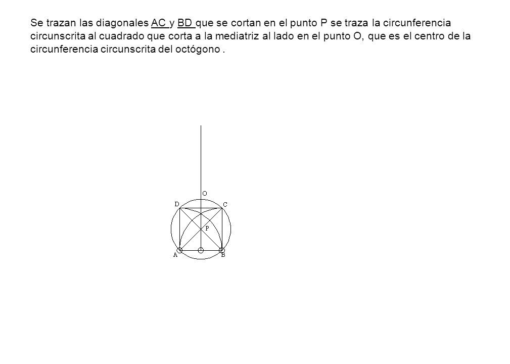 Se trazan las diagonales AC y BD que se cortan en el punto P se traza la circunferencia circunscrita al cuadrado que corta a la mediatriz al lado en el punto O, que es el centro de la circunferencia circunscrita del octógono .