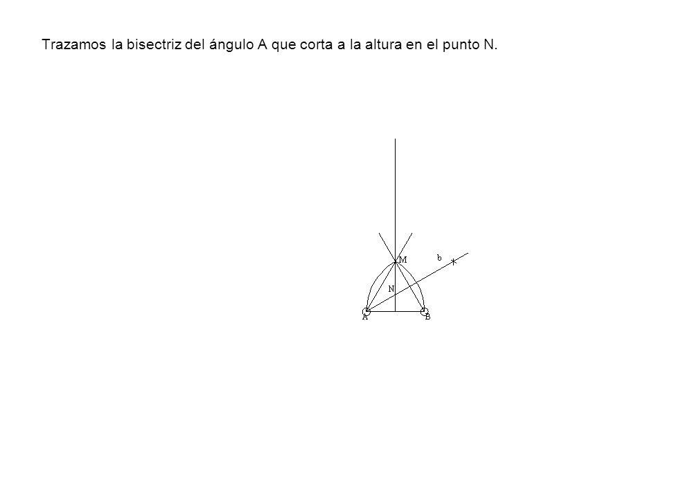Trazamos la bisectriz del ángulo A que corta a la altura en el punto N.