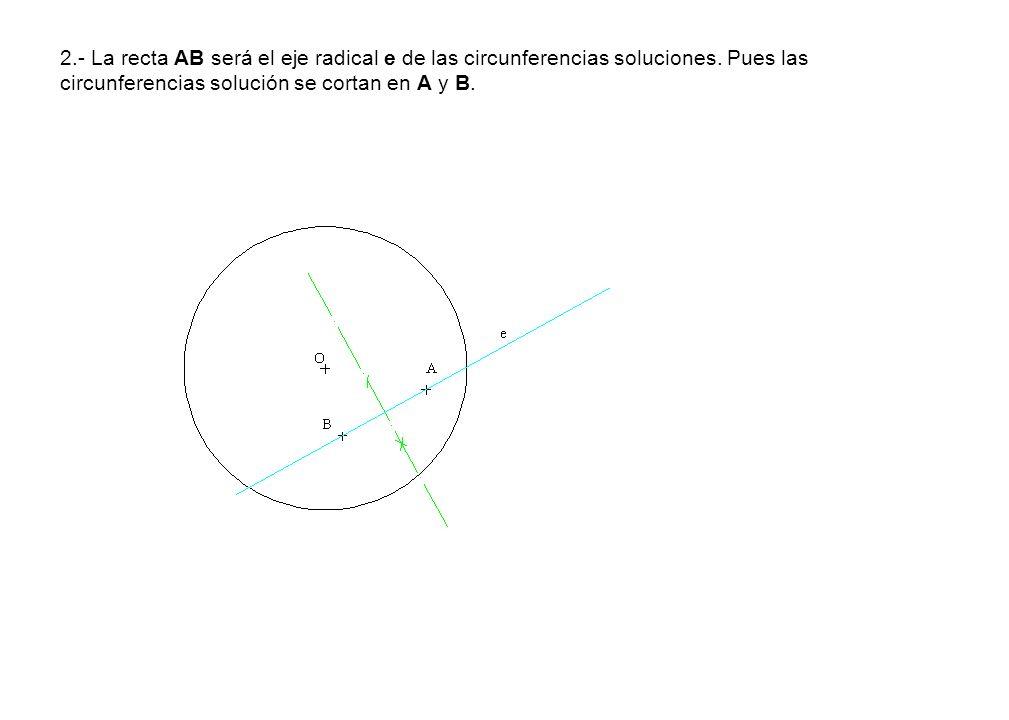 2.- La recta AB será el eje radical e de las circunferencias soluciones.