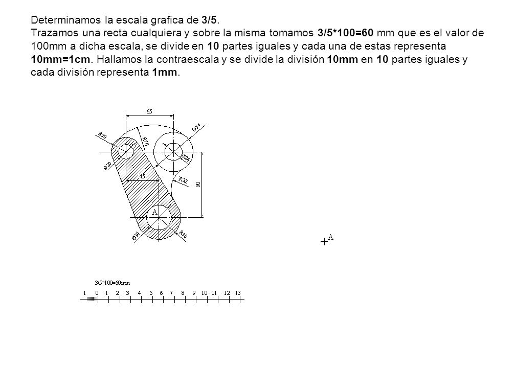 Determinamos la escala grafica de 3/5