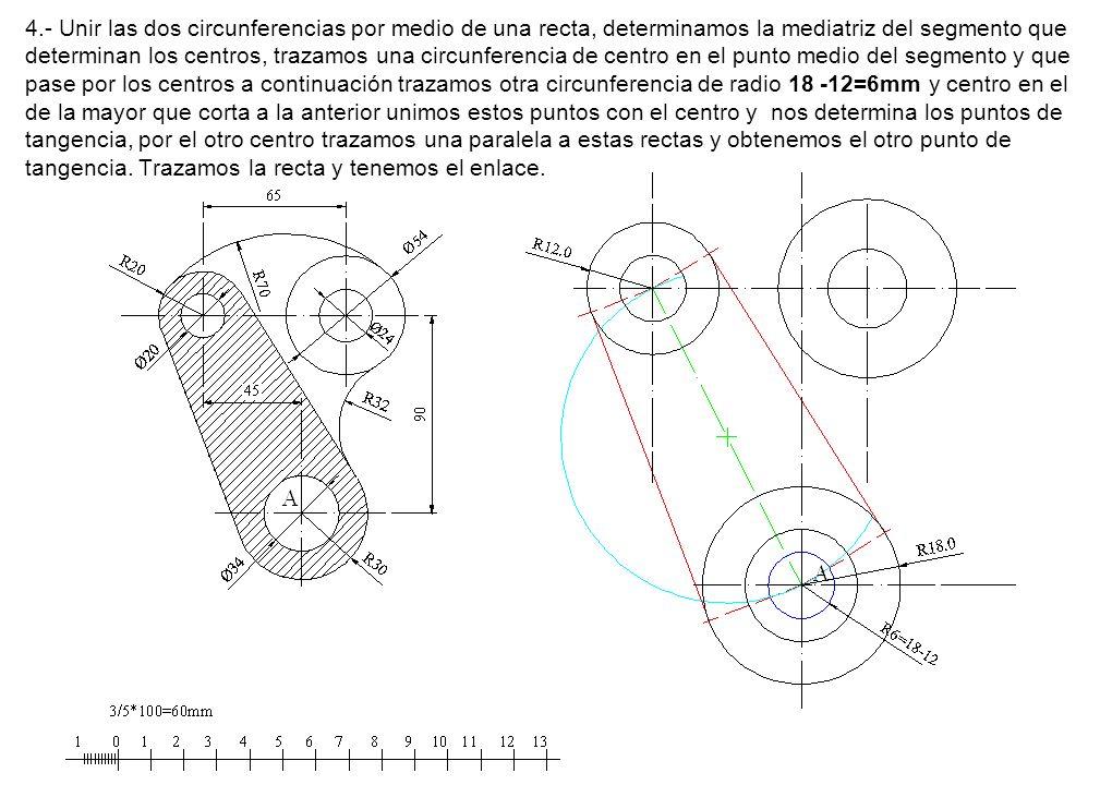 4.- Unir las dos circunferencias por medio de una recta, determinamos la mediatriz del segmento que determinan los centros, trazamos una circunferencia de centro en el punto medio del segmento y que pase por los centros a continuación trazamos otra circunferencia de radio 18 -12=6mm y centro en el de la mayor que corta a la anterior unimos estos puntos con el centro y nos determina los puntos de tangencia, por el otro centro trazamos una paralela a estas rectas y obtenemos el otro punto de tangencia.