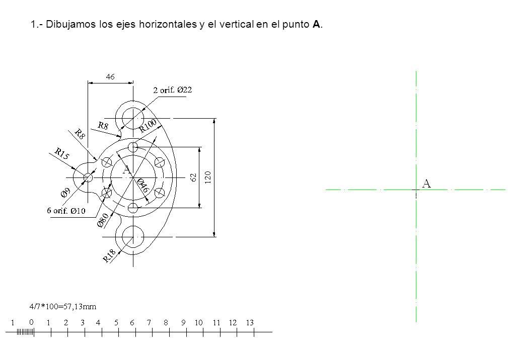 1.- Dibujamos los ejes horizontales y el vertical en el punto A.