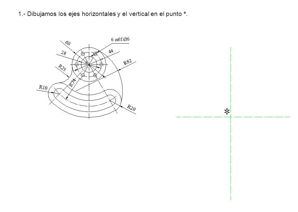 1.- Dibujamos los ejes horizontales y el vertical en el punto *.